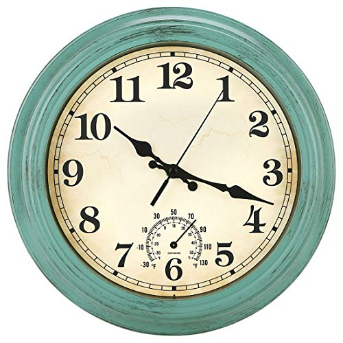 12 Inch Indoor/Outdoor Retro Waterproof Wall Clock with Thermometer,Vintage Battery Operated Silent Non Ticking Quartz Clock Wall Decorative for Kitchen/Bedroom/Living Room/Bathroom/Patio-Olive green