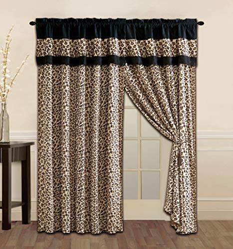 Grand Linen 4 Piece Brown/Black Leopard Leopard Print Microfur Curtain Set with Attached Valance and Sheers