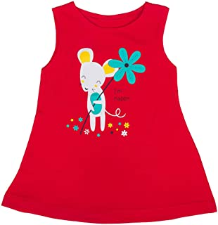 Hopscotch Baby Girls Cotton-Blend Sleeveless Printed Dress in Red Color