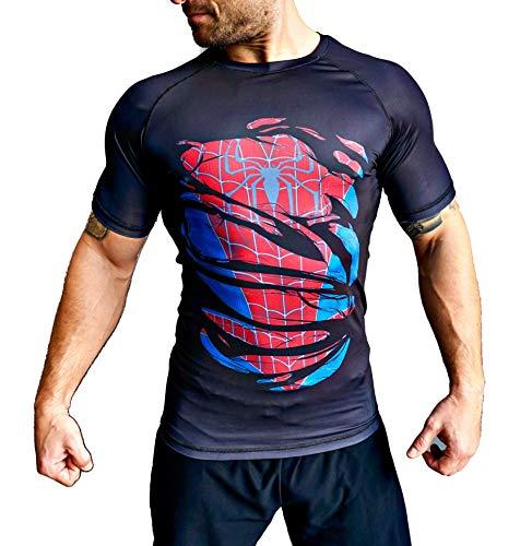 Khroom® - Maglietta a compressione da uomo, a maniche corte, traspirante, design eroe, maglietta funzionale per fitness, palestra, jogging Spiderman Schwarz XXL
