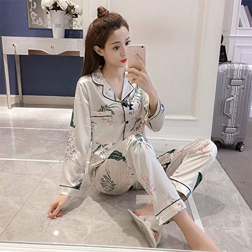 Langarm Pyjama Sets Blumen Nachtwäsche Satin Pijama Mujer Unterwäsche Turn-Down Kragen Pyjama Big Yard at All Season XXXL