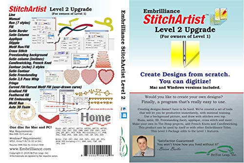 Embrilliance StitchArtist Upgrade Level 1 to Level 2 Digitizing Embroidery Software for Mac & PC