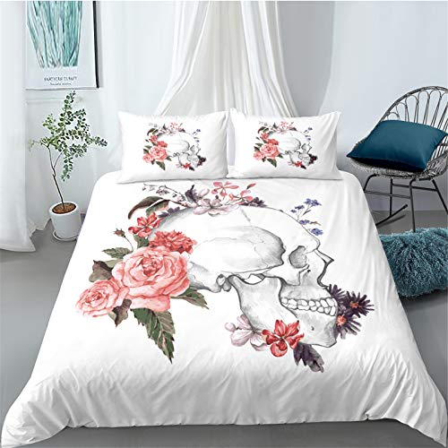YYSZM Bedding Home Textiles 3D Skull Head Microfiber Fabric Soft Comfortable Skin-Friendly Hypoallergenic Easy To Clean 3-Piece Set 1 Quilt Cover 2 Pillowcase