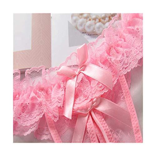 MJY Erwachsene Produkte Lace Panties Feminine Sensation Transparente Low Waist Thong Pearl Massage Versuchung Large Size Fun T Pants,Rosa,Freie Größe