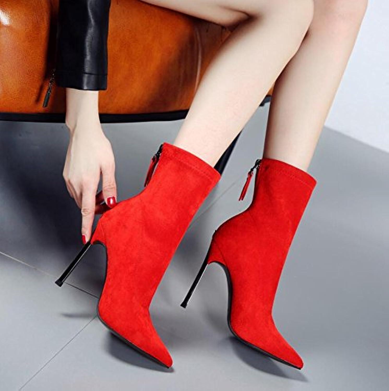 KHSKX -röd 10Cm Tip och Elastiska skor skor skor Sexiga skor med korta stövlar Scrub Video Thin Ultra -Liknande Kvinnliga Stövlar  gör rabattaktiviteter