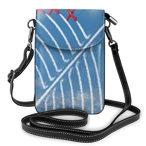 Women Small Cell Phone Purse Crossbody,Acrobat Little Show Planes In Clear Sunny Sky With Smoke Behind Image Print