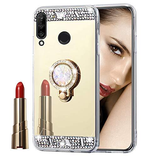 Glitzer Spiegel Hülle für Huawei Y6P 2020 Gold, Misstars Bling Kristall Strass Überzug TPU Silikon Handyhülle Ultradünn Kratzfest Schutzhülle mit Diamant Ring Ständer für Huawei Y6P 2020