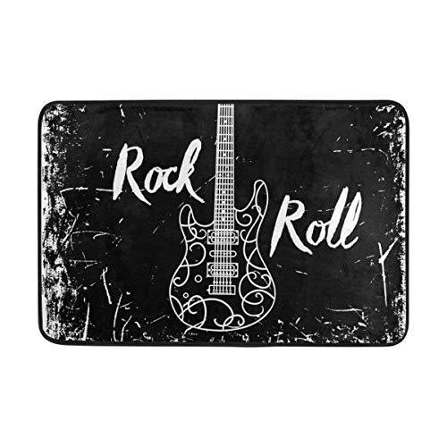 Guitarra eléctrica y Letras Rock Roll sobre Fondo Grunge Felpudo Antideslizante Decoración para el hogar, Alfombra de Entrada Exterior Duradera, Alfombra para Mascotas 40x60 cm
