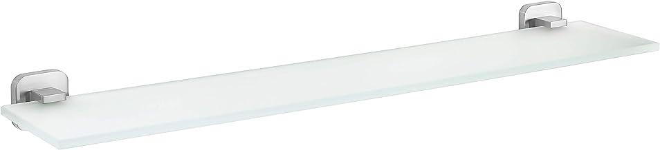 tesa Esteetic glazen plank, zelfklevend, roestvrijstalen uiterlijk, fraai ontwerp, 50mm x 600mm x 123mm
