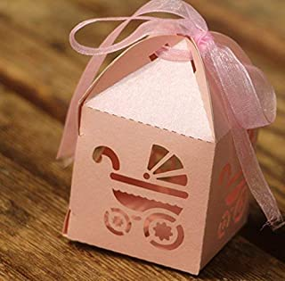 KAZIPA 50PCS Baptism Favor Boxes, 2.2''x2.2''x2.2''Laser Cut Gift Boxes with 50 Ribbons for Baby Shower Favors Baptism Decorations First Birthday Party, Pink