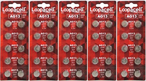 50 Pack LOOPACELL AG13 / LR44 / L1154 / 357 / A76 / Battery