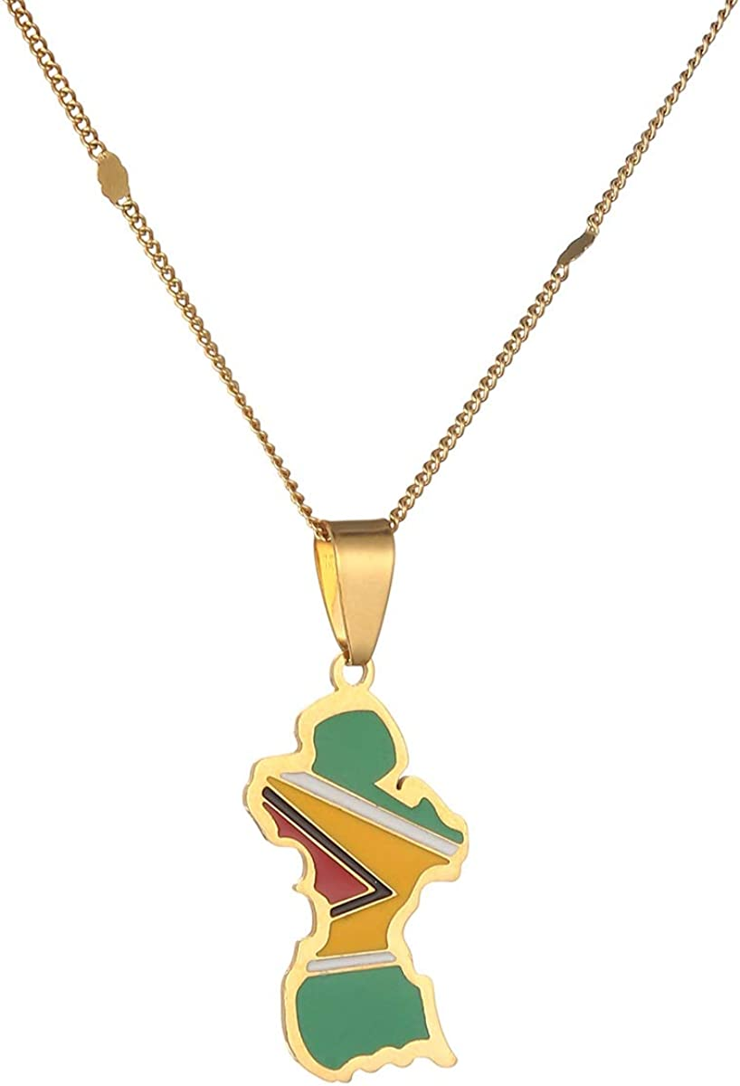 Stainless Steel Guyana Map Flag Pendant Necklace Guayana Charm Jewelry