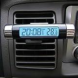 Hrph デジタル クロック 温度計 一体 カーキット 車内 温度計
