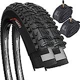 Fincci Par Híbrida Plegable Neumáticos de Bicicleta de Montaña Cubiertas 26 x 1,95 53-559 y Presta Tubos Interiores