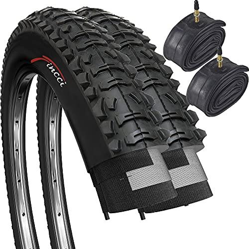 Paar Fincci MTB Mountain Hybrid Bike Fahrrad Faltbar Reifen 26 x 1,95 53-559 und Sclaverandventil Schläuche