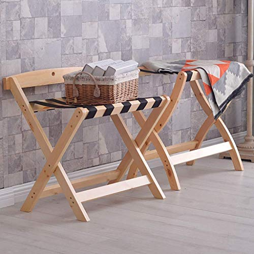 CENPEN 2 soportes para equipaje plegable de madera maciza para hotel, 60 x 40 x 60 cm, 60 x 50 x 65 cm