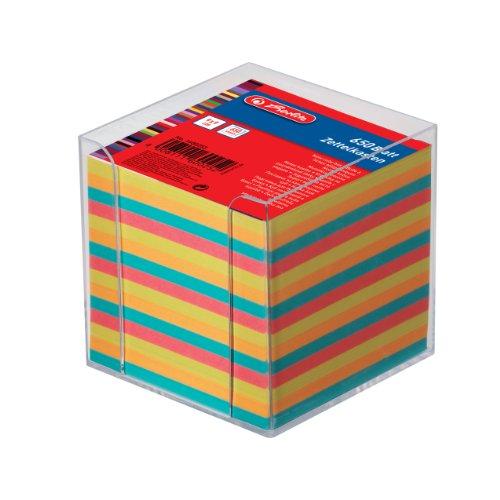 Herlitz - Cubo con bloc de notas (9 cm, 650 hojas), cubo transparente y hojas de colores
