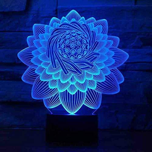 3D-lotusbloesemvorm, tafellamp, 7 kleuren, LED, touchscreen, bloemen, nachtlampje, USB, slaapverlichting, lamppara, kinderen, cadeau voor slaapkamer, decoratie
