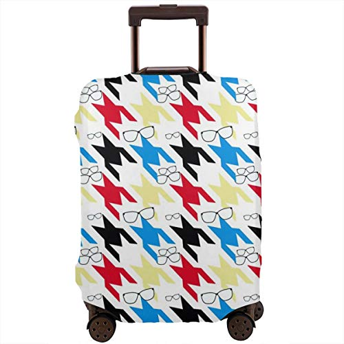SARA NELL Travel Luggage Cover Plaid Checkereddog Tooth Pattern Colorful Hounds Suitcase Cover Protector Fits 18-32 Inch Luggage Baggage Cover