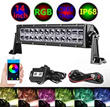RGB LED Light Bar, Moso LED 14 inch CREE LED Driving Light Multicolor Changing Light Chasing Halo Spot Flood Light Bar With Wiring Harness Bluetooth Controlled Work Light for ATV UTV Off Road Truck