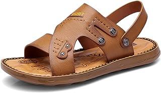 YVWTUC Męskie antypoślizgowe buty plażowe skórzane letnie sandały kapcie