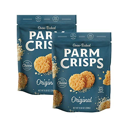 ParmCrisps Party Size Original Parmesan Cheese Crisps, 9.5 oz (Pack of 2), Healthy Keto Snacks, 100% Cheese Crisps, Gluten Free, Sugar Free, Low Carb, High Protein, Keto-Friendly
