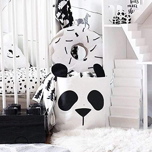 EMOHKCAB 36L Opvouwbare Opbergtas Panda Canvas Organizer Mand Bin Box Speelgoed Kleding Ronde Wasserij Speelgoed Kast Spullen Slaapkamer Home Decor, 2 stuks