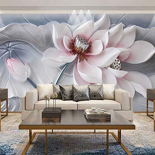 4D behang muurschilderingen, modern, minimalistisch stereoscopisch prachtige lotusbloemen groot kunstdruk fotobehang poster voor woonkamer bank tv-achtergrond veranda slaapkamer muur decor 120in×200in 300cm(H)×500cm(W)