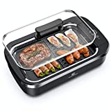 Indoor Smokeless Grill - CSS Electric Grill with Removable Griddle Plate, Non-stick Cooking Surface, LED Smart Control Panel, Tempered Glass Lid, Turbo Smoke Extractor Technology, 1400W, 15' X 9' Grilling Surface