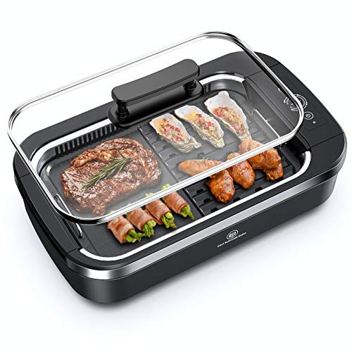 "Indoor Smokeless Grill - CSS Electric Grill with Removable Griddle Plate, Non-stick Cooking Surface, LED Smart Control Panel, Tempered Glass Lid, Turbo Smoke Extractor Technology, 1400W, 15"" X 9"" Grilling Surface"