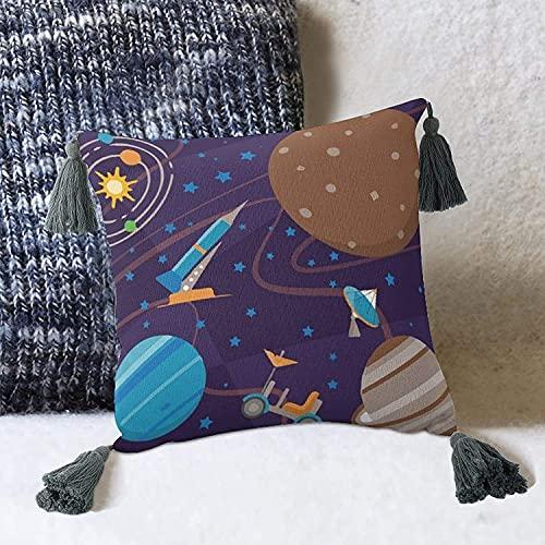 Nave Espacial Cohetes Planetas y Sistema Solar ilustración Funda de cojín para sofá Cama-Estilo blanco1 10 'x 10' Funda de Almohada con borlas Fundas de Almohada