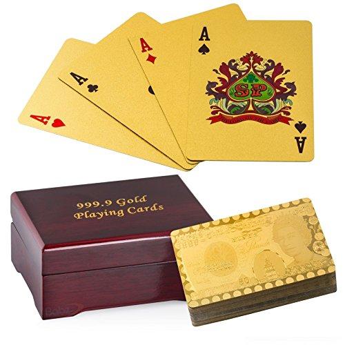 Plaqué or Cartes à jouer, Poker Pont 99,9% Pure - Le cadeau parfait!