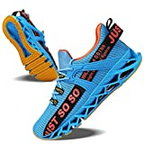 JSLEAP Running Shoes Men Sneaker Fashion Walking Outdoor Sport Casual,Blue Orange,US 8