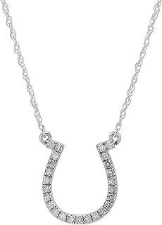 0.22 Carat (ctw) Round Diamond Ladies Horseshoe Pendant 1/4 CT (Silver Chain Included), Gold