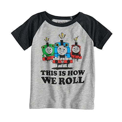 Jumping Beans Toddler Boys 2T-5T Thomas & Friends This is How We Roll Percy, Thomas & James Raglan Tee 3T Heather Gray