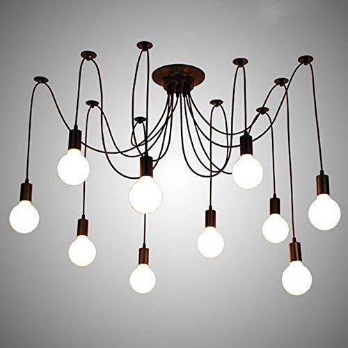 Lustre Suspension 6 Drop Tête E27 antique classique réglable DIY araignée au plafond lampe suspendue lumière pour salle à manger couloir Chambre à coucher Hôtel d'éclairage