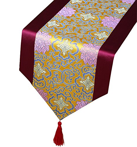 Black Temptation Table Classique Chinoise Traditionnelle Runner Satin Nappe - Colorful