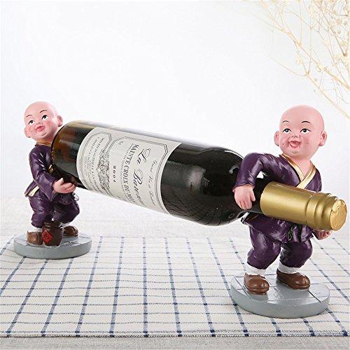 LL-COEUR 1/3 Paire de Novice Bonze Porte Bouteille Décoration Casier à Vin Support pour Cocktail Sculpture Idée Cadeau 8.5 x 8.5 x 17 cm (Violet)