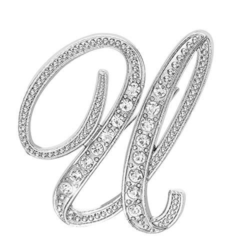 Julhold Broschen Damen Vintage Neues Persönlichkeitsset Mit Diamantbrosche 26 Englische Buchstabenbrosche Schal Clip Kopftuch Schal Schal Brooch Kostümzubehör(U)