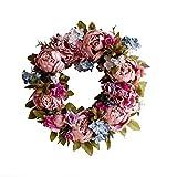 AILINDA Corona de peonía rosa floral ramita de 35 a 40 cm, hecha a mano, flores artificiales vintage, guirnalda de puerta frontal, hermosa seda para primavera y verano (rosa retro)