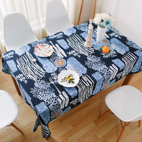 MJIA Cubierta de Mesa de Regalo de decoración Creativa Bohemia, Cubierta de Mesa de café mediterránea Retro, Adecuada para Cocina, Comedor M-8 140x160cm