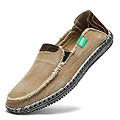 WIDTH: Normal COMFORTABLE :Soft cotton lining / Slip-on Loafers EASY ON and OFF:Relaxed fit with hight textured canvas upper FIT for Seasons. A good pair of comfort canvas slip-on shoes, driving shoes, walking shoes, casual shoes and suitable for dai...