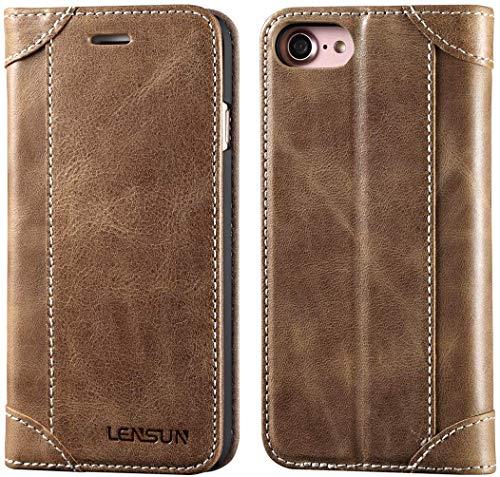 Lensun Cover iPhone SE 2020, Cover iPhone 7 / iPhone 8, Vera Pelle Cuoio Custodia Genuino Annata a Portafoglio Flip con Coperchio Frontale Magnetica per iPhone 7 e iPhone 8 4.7' – caffè (7G-DX-CE)