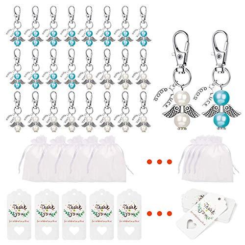 24 llaveros con forma de ángel, en bolsa de organza, ángel de la guarda, para niños, niñas, regalos para invitados de boda, ángel de la guarda + colgante para regalos (azul y blanco)