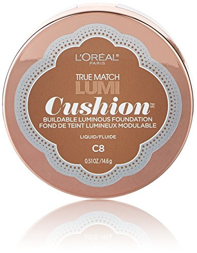 L'Oréal Paris True Match Lumi Cushion Foundation, C8 Cocoa, 0.51 oz.