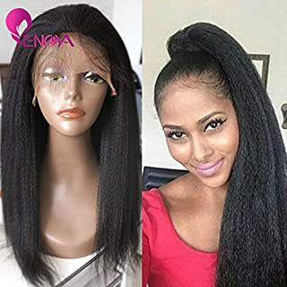 Natural Looking Italian Yaki Lace Front Wigs/Silk Top Lace Front Wigs Best Brazilian Remy Human Hair Wigs with Baby Hair for African Americans 130 Density (12