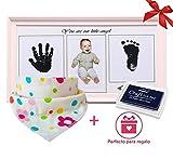 Marco fotos de huellas de manos y pies bebé rosa | Bonus: un babero de algodón...