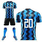 FDSEW Jungen-Männerfußballuniform, 20-21 Italienischer Heimverein Valero Nr. 20, klassisches Trikot, Perisic Nr. 44 Gagliardini Nr. 5 Kinderfußballanzug-blue20-2XL