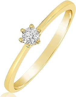 ∞ Anillo Mujer Compromiso Oro y Diamantes - Oro Amarillo 9 Kt 375 ∞ Diamantes 0.01 Kt