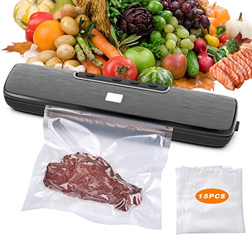 Janusoma Vacuum Sealer Machine, Automatic Food Sealers Vacuum Packing machine, with 5 Sealing Temp, Unique Waterproof Design, 5 mm Width Heating Wire, Dry Moist Food Modes, and 15PCS Vacuum Sealer Bags